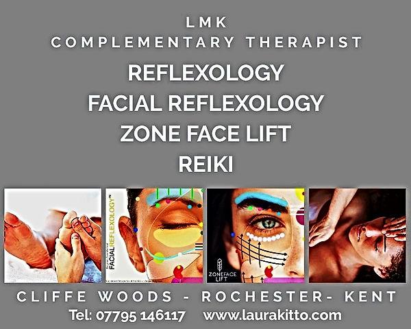 Treatments at LMK; Reflexology, Facial Reflexology, Zone Face Lift, Reiki, Cliffe Woods, Rochester, Kent