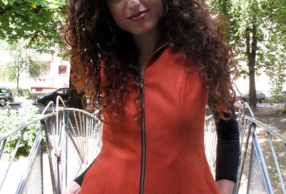 Kapuzenweste Wolle kürbis orange