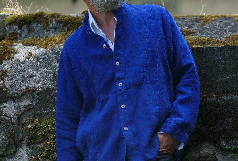 Darjeeling Hemdjacke Leinen blau