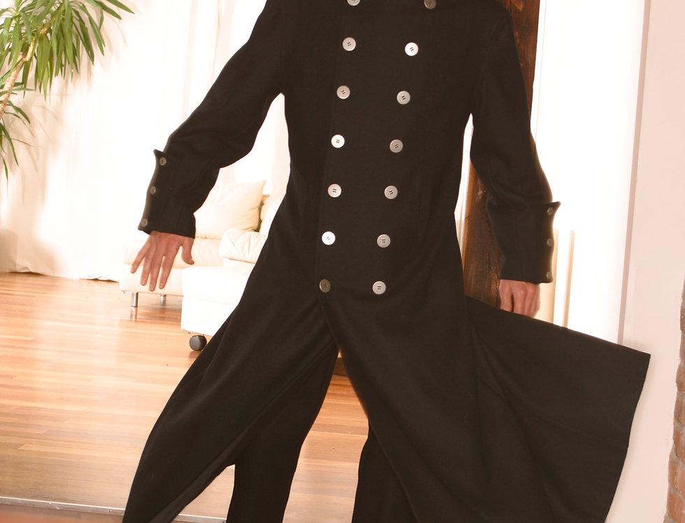 Husarenmantel lang  Wolle schwarz