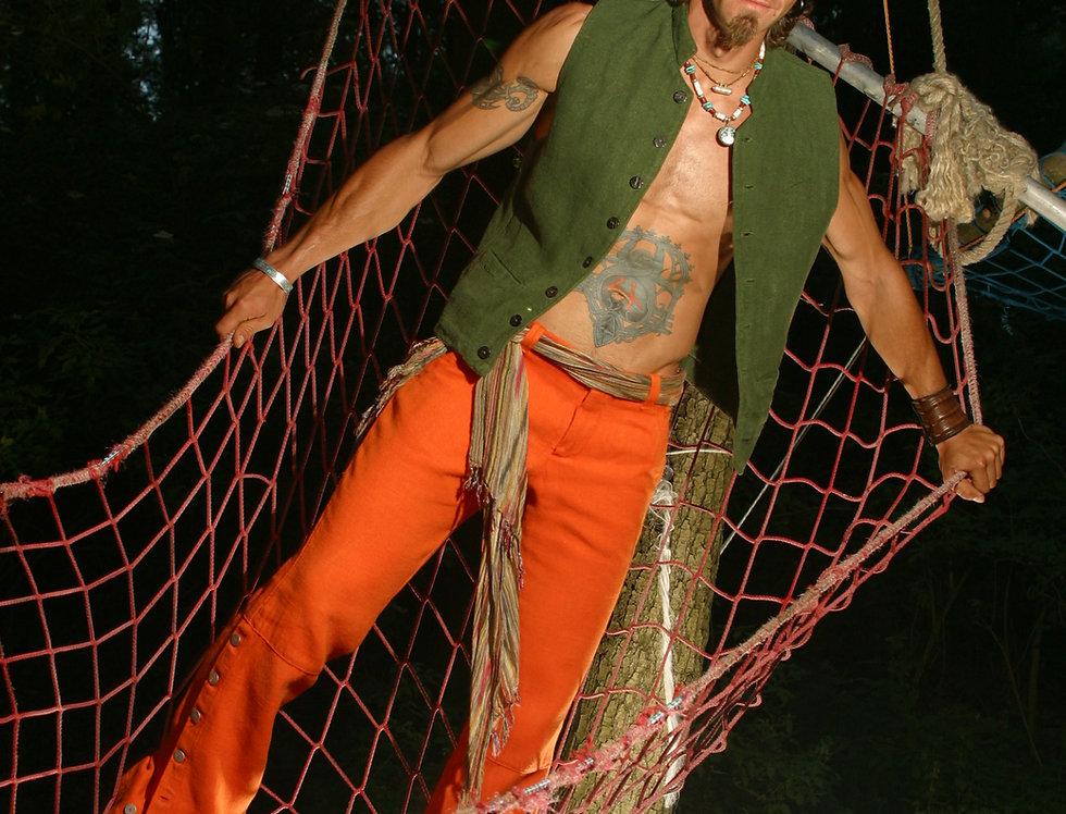 Männer Schlaghose Hanf orange