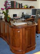 Bespoke curved walnut desk
