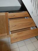 Angled oak kitchen drawers