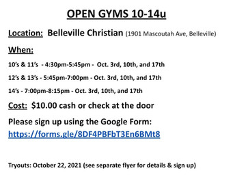 10u-14u Open Gyms- More info on the tryout tab!