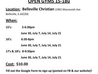 15u-18u Open Gym Schedule !