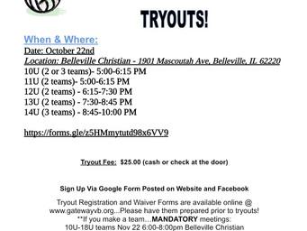 10u-14u Tryouts!
