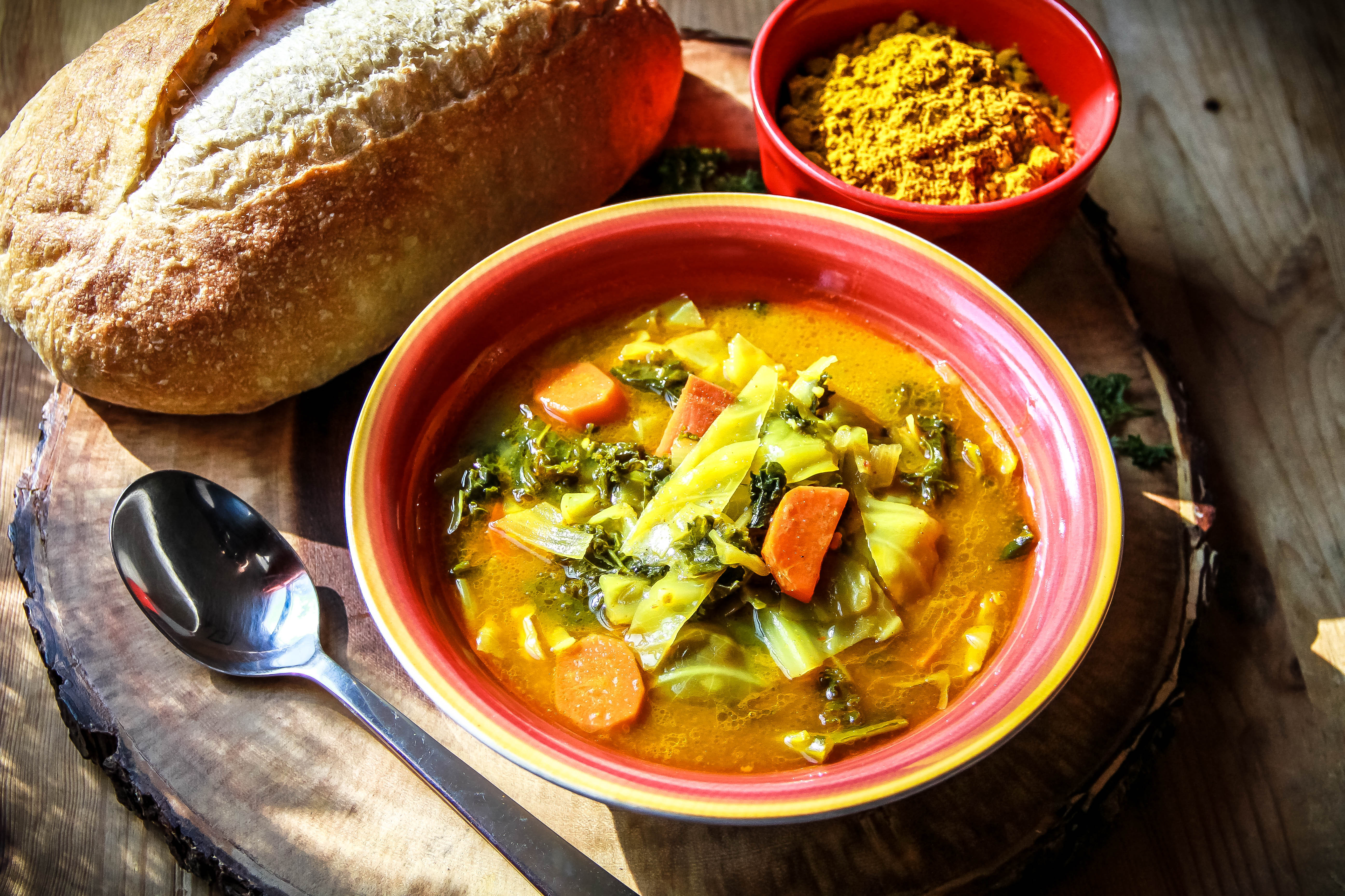 Coconut Curry w. Kale and Cabbage