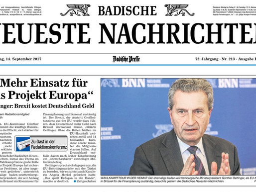 EU-Kommissar Oettinger                            im BNN Medienhaus