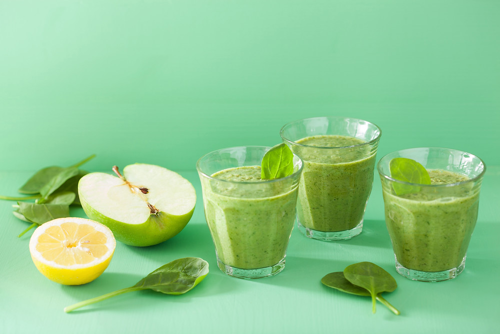 Spinach, hemp seeds & OJ  provide protein, iron, and calcium.