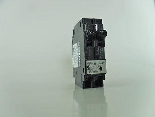 Siemens Q2020NC Two 20-Amp 1 Pole 120/240V Circuit Breaker