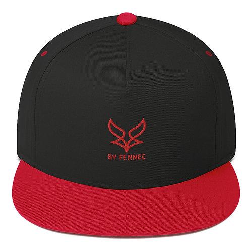 Casquette visière plate Snapback Noir / Rouge Homme BY FENNEC