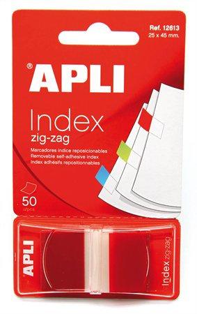 Jelölőcímke, 50 lap, 25x45 mm, APLI, piros