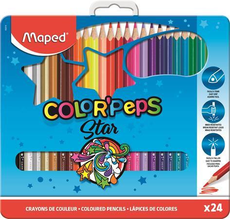 """Színes ceruza készlet, háromszögletű, fém doboz, MAPED """"Color`Peps"""", 24 különböz"""
