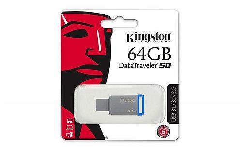 """Pendrive, 64 GB, USB 3.1, """"DT50"""", ezüst-kék"""