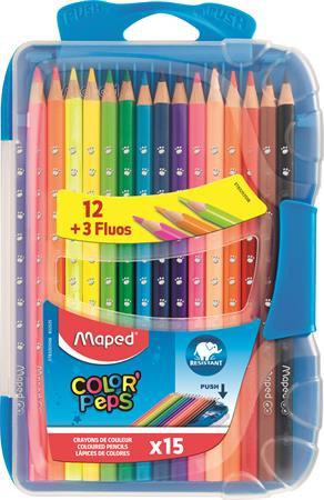 """Színes ceruza készlet, háromszögletű, MAPED """"Color`Peps Smart box"""", 15 különböző"""