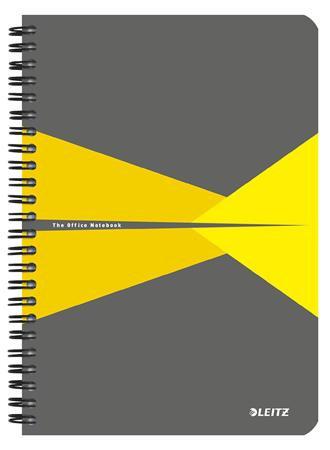 """Spirálfüzet, A5, vonalas, 90 lap, LEITZ """"Office"""", szürke-sárga"""