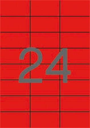 Etikett, 70x37 mm, APLI, piros, 480 etikett