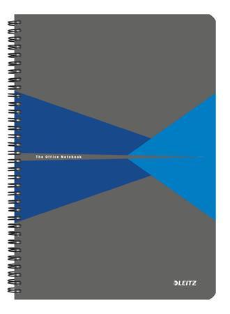 """Spirálfüzet, A4, vonalas, 90 lap, LEITZ """"Office"""", szürke-kék"""