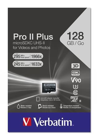 """Memóriakártya, microSDXC, 128 GB, CL10/UHS-II/U3/V90, """"PRO II+"""""""
