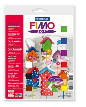 """Gyurma készlet, 9x25 g, égethető, FIMO """"Soft Basic"""", vegyes színek"""
