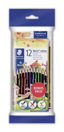 Színes ceruza készlet, hatszögletű, ajándék grafitceruzával és radírral, STAEDTL