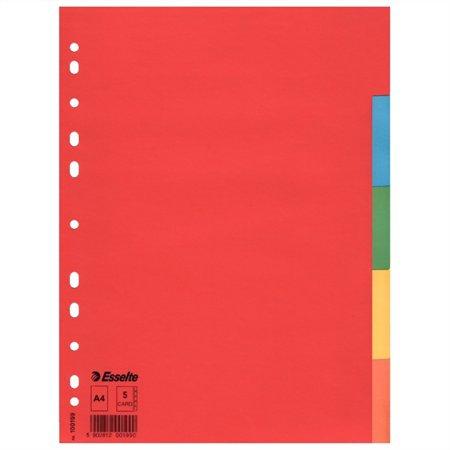 """Regiszter, karton, A4, 5 részes, """"Economy"""", színes"""