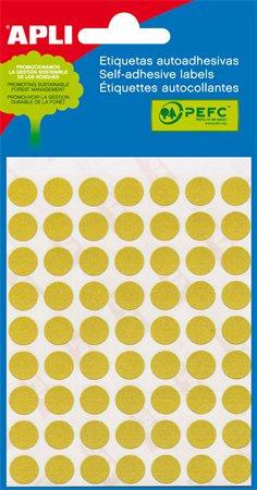 Etikett, 10 mm kör, APLI, sárga, 315 etikett