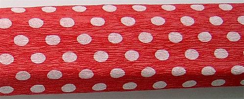 Krepp papír, piros alapon fehér pöttyös