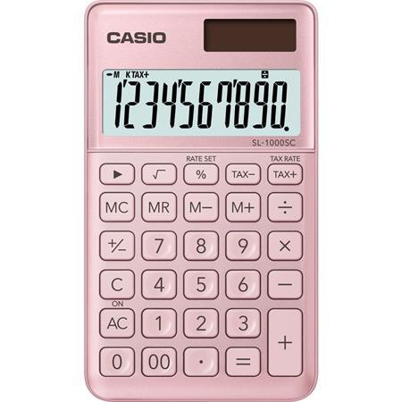 """Zsebszámológép, 10 számjegy, CASIO """"SL 1000"""", világos rózsaszín"""