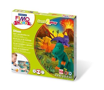 """Gyurma készlet, 4x42 g, égethető, FIMO """"Kids Form & Play"""", dínók"""
