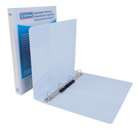 Gyűrűs könyv, panorámás, 4 gyűrű, D alakú, 44 mm, A4, PP, fehér