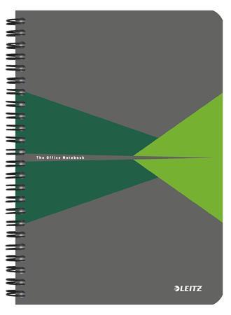 """Spirálfüzet, A5, vonalas, 90 lap, LEITZ """"Office"""", szürke-zöld"""
