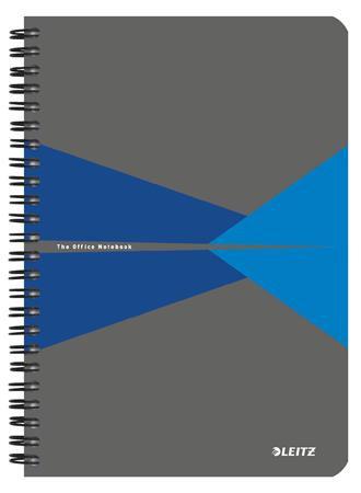 """Spirálfüzet, A5, vonalas, 90 lap, LEITZ """"Office"""", szürke-kék"""