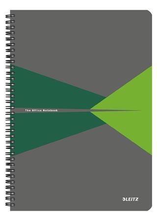 """Spirálfüzet, A4, kockás, 90 lap, LEITZ """"Office"""", szürke-zöld"""