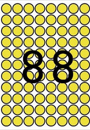Etikett, 16 mm kör, A5 hordozón, APLI, sárga, 704 etikett