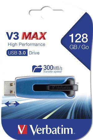 """Pendrive, 128 GB, USB 3.0, """"V3 MAX"""", kék-fekete"""
