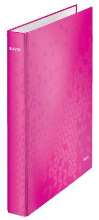 Gyűrűs könyv, 2 gyűrű, D alakú, 40 mm, A4 Maxi, karton, lakkfényű, rózsaszín