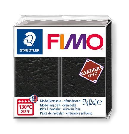 "Gyurma, 57 g, égethető, FIMO ""Leather Effect"", fekete"