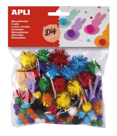 """Pom-pom, csillogó, APLI """"Creative"""", vegyes színek"""