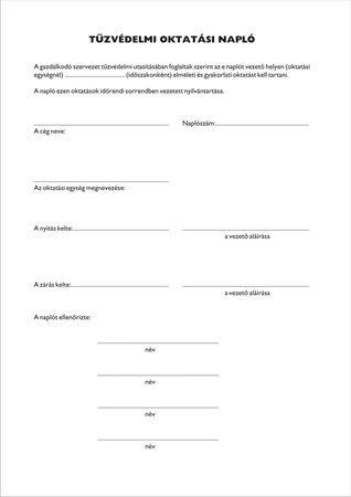 Nyomtatvány, tűzvédelmi oktatási napló, 40 oldal, A4,