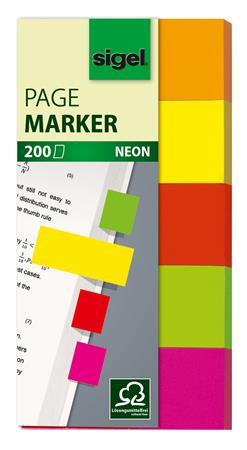 """Jelölőcímke, papír, 5x40 lap, 20x50 mm, SIGEL """"Neon"""", vegyes szín"""