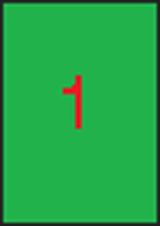 Etikett, 210x297 mm, APLI, neon zöld, 100 etikett