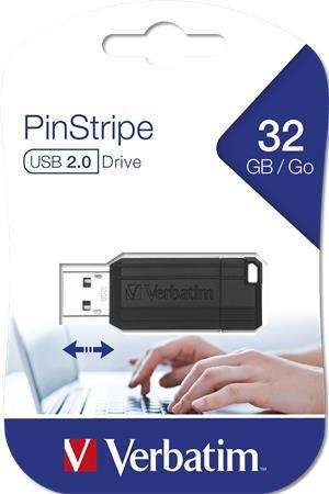 """Pendrive, 32 GB, USB 2.0, """"PinStripe"""", fekete"""