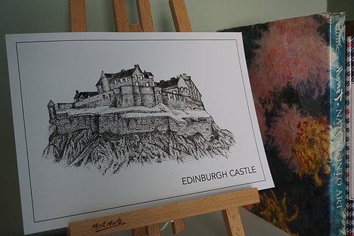 Edinburgh Castle Print - Black and White