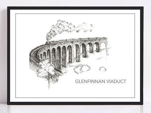 Glenfinnan Viaduct Print - Black and White