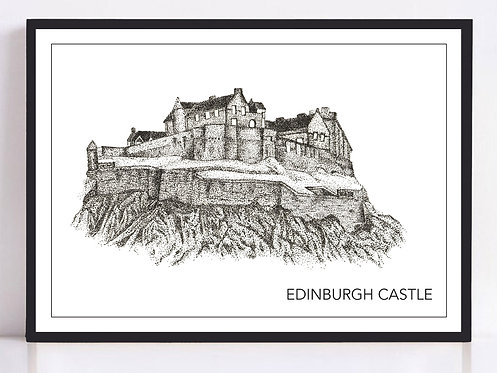 Edinburgh Castle Print - Black and White