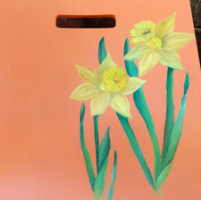 daffodil painting on upcycled chair