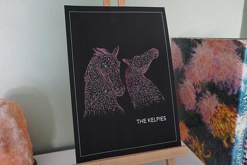 The Kelpies At Night Print