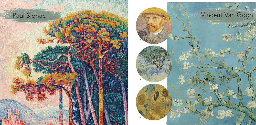 Paul Signac and Vincent Van Gogh were also used as inspiration for their pointillism technique