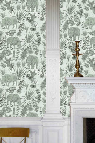 RHINOS wallpaper in the colourway Sage.